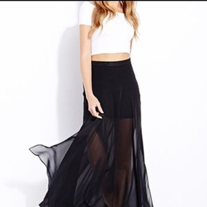 H&M Blue Maxi Chiffon Skirt With Side Slits